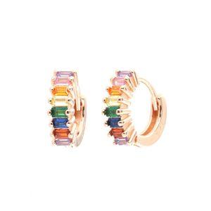 Orecchini in Argento 925 a cerchietto, con giro di zirconi multicolore - 1103368
