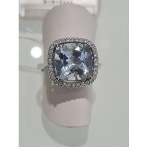 anello acqua marina e diamanti