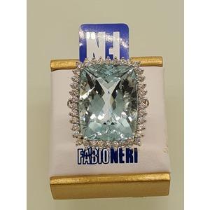 anello oro acquamarina e diamanti