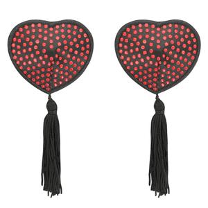COQUETTE CHIC DESIRE NIPPLE COVERS HEART BLACK / RED