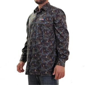 Camicia in microfleece  Lapponia by Giorgio Lugaresi camouflage Blue royal