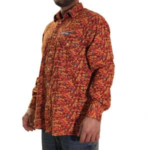 Camicia in microfleece  Lapponia by Giorgio Lugaresi camouflage arancio