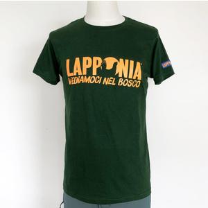 T-Shirt Lapponia by Giorgio Lugaresi  Verde Bottiglia logo Lapponia VNB arancio