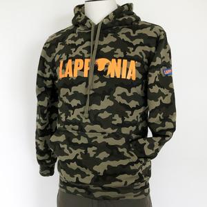 Felpa c/cappuccio Lapponia by Giorgio Lugaresi  Camouflage Verde  logo Lapponia arancio
