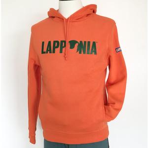 Felpa c/cappuccio Lapponia by Giorgio Lugaresi  Arancio logo Lapponia verde