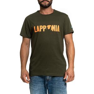 T-Shirt Lapponia by Giorgio Lugaresi  Verde Oliva logo Lapponia arancio
