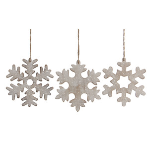 ornament snowflake white 3 assorted - l15xw15xh0,5cm