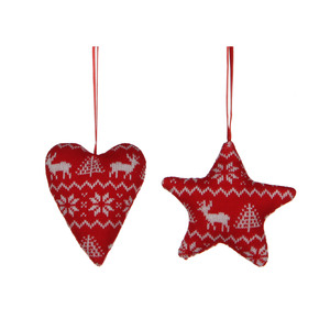 ornament star heart red 2 assorted - l10xw9xh2,5cm
