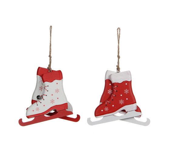 ornament skates white red 2 assorted - l12xw1xh10cm