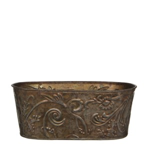 gloria flowerpot oval zinc bronze - l25xw14,5xh10cm