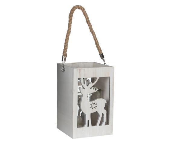 hurricane light deer white wash - l15xw15xh23cm
