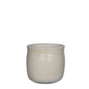 Destiny pot round off white - h15xd16cm