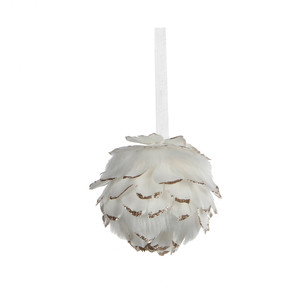 ornament ball feather white - d11cm