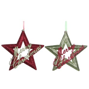 ornament star green red 2 assorted - h5xd30cm