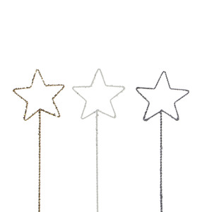 pick star gold white grey 3 assorted - h30xd10cm