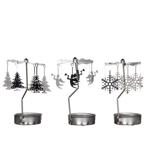 tealight holder xmas figures silver 3 assorted - h12xd9cm