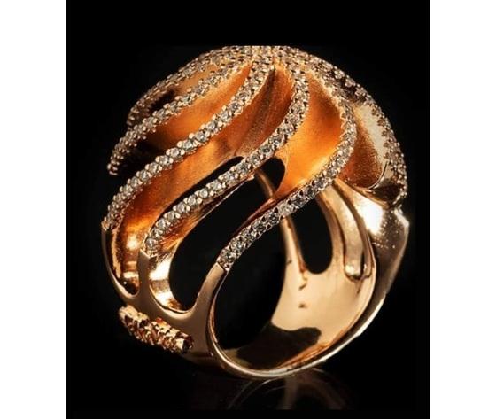 056 anello vortice oro rosa