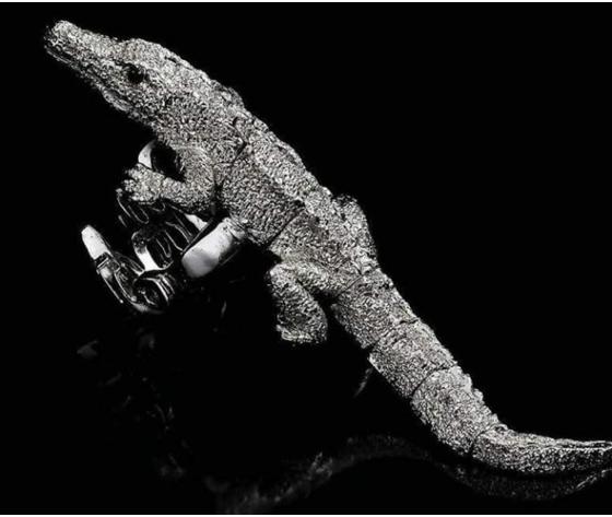 049 anello coccodrillo snodato oro bianco v