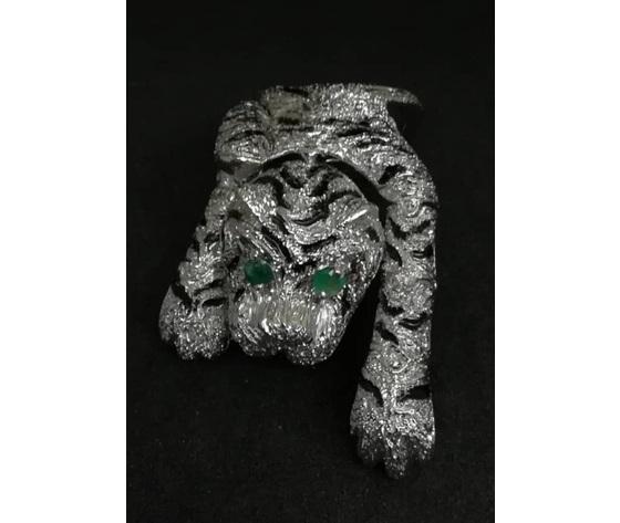 001 3 anello tigre smalto e occhi smeraldo