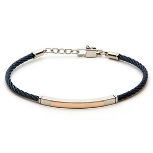 Bracciale cavetto acciaio PVD blu con piastra in oro rosa 18kt
