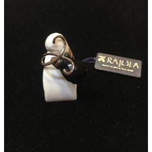 Rajola anello in oro 18kt contrariè agata bianca e onice nero