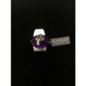 Rajola anello in oro 18kt e diamanti ct.0.05 con ametista