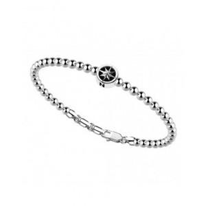 Bracciale con sfere 4mm  in argento 925 con stella della rosa dei venti