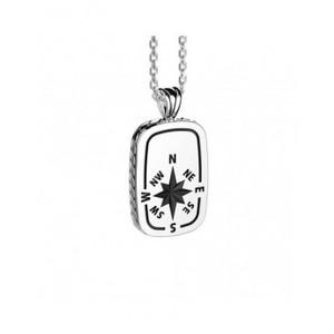 Collana da uomo in argento 925 con rosa dei venti e punti cardinali