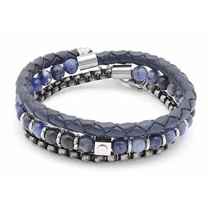 Bracciale in acciaio con pietre naturali SODALITE e cuoio intrecciato blu
