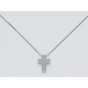 Collana Miluna Croce In Oro Bianco E Diamanti CLD3990