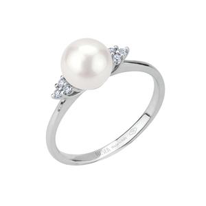 Anello in oro con diamanti e perla Akoya