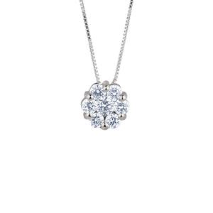 Ciondolo punto luce a rosetta in oro con diamanti