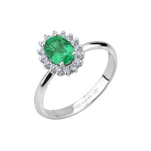 Anello in oro con diamanti e smeraldo