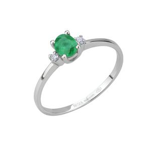 Anello in oro con diamanti e smeraldi