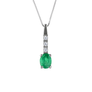 Ciondolo in oro con diamanti e smeraldo