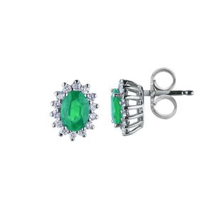 Orecchini in oro con diamanti e smeraldi