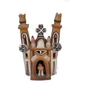 Gecas Regali dal mondo Chiesa COLONIALE in Terracotta Misura 10x19 cm