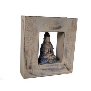 Gecas Regali dal mondo Kuan Yin in Cornice con 2 Candele. 24X22X6.5