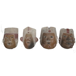 Gecas Regali dal mondo Maschere Terracotta Set di 4 Pezzi 20X15 CM Circa