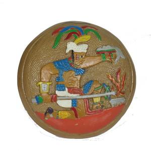 Gecas Regali dal mondo Piatto MURALE IDOLO Azteca Misura D.21 cm.