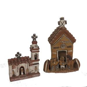 Gecas Regali dal mondo Set di 2 CHIESE in Terracotta Misura 10X14 CM