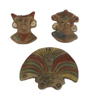 Gecas Regali dal mondo Set di 3 Maschere Cultura Maya Misura Circa 10X10 cm.