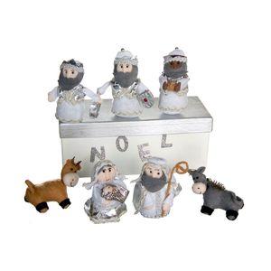Gecas Regali dal mondo - Presepe Lana cotta scatola misura 24x10 cm. H 10 cm personaggi