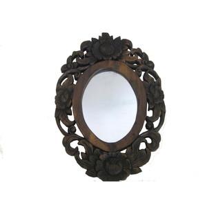 Gecas Regali dal mondo Specchio Rustico Ovale INTARSI Fiori 45X30