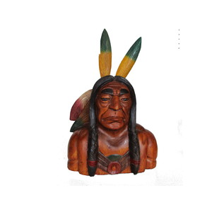 Gecas Regali dal mondo Statua Busto PELLEROSSA in Legno H.50 CM.