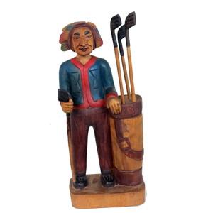 Gecas Regali dal mondo Statua PELLEROSSA Giocatore Golf 40X15 CM.