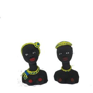 Generico 1CB0808-A Set di 2 Statue Terracotta Negritos H.8 CM.