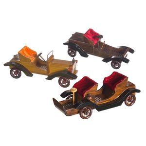 Gecas Regali dal mondo - Set di 3 Auto d'Epoca in Legno. Misura 25 x 9 x 10 cm