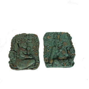 Gecas Regali dal mondo - 1MX0351-B Coppia di Quadri Malachite SACERDOTI Maya 18X13 CM.
