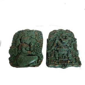 Gecas Regali dal mondo - 1MX0351-C Coppia di Quadri Malachite SACERDOTI Maya 18X13 CM.